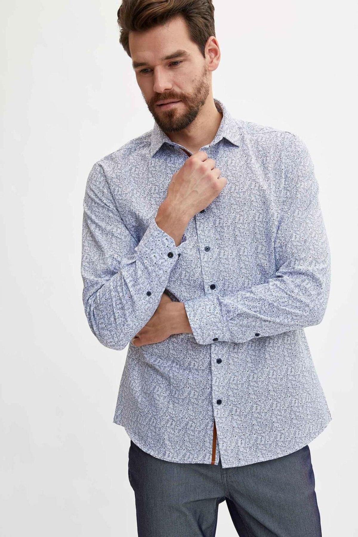 DeFacto Men Simple Pattern Shirts Short Sleeve Fashion Shirts Men Casual Lapel Collar Cotton Shirt - L5824AZ19AU