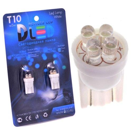 1 pces led carro lâmpada t10-w5w-4 dip-led