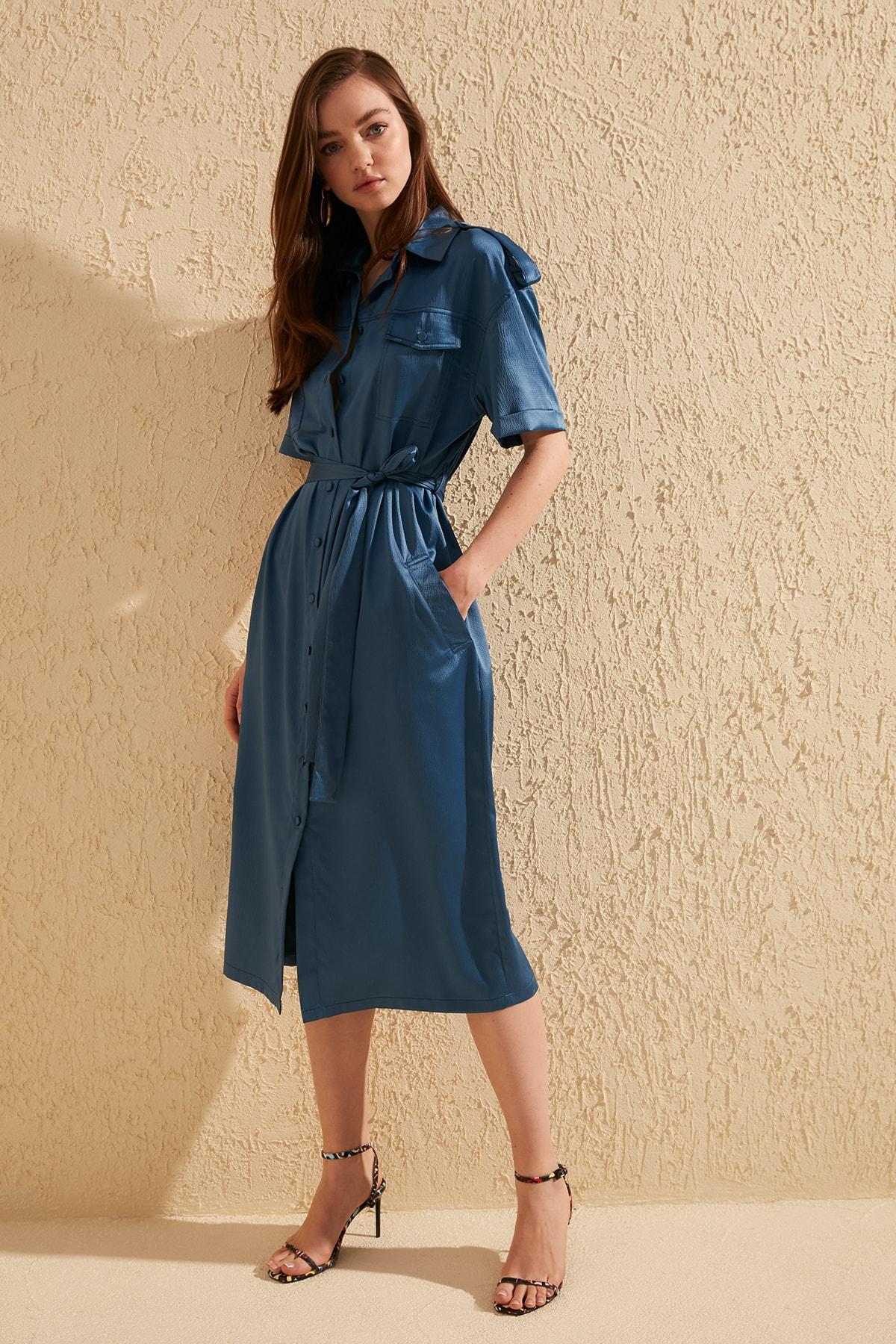 Trendyol Button Belted Dress TWOSS20EL0190