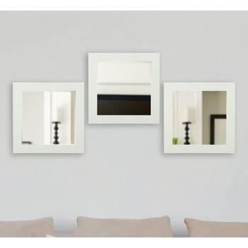 Evcazım 3 sztuka 26x26cm cienkie lustro w ramie zestaw biały 342435866 tanie i dobre opinie