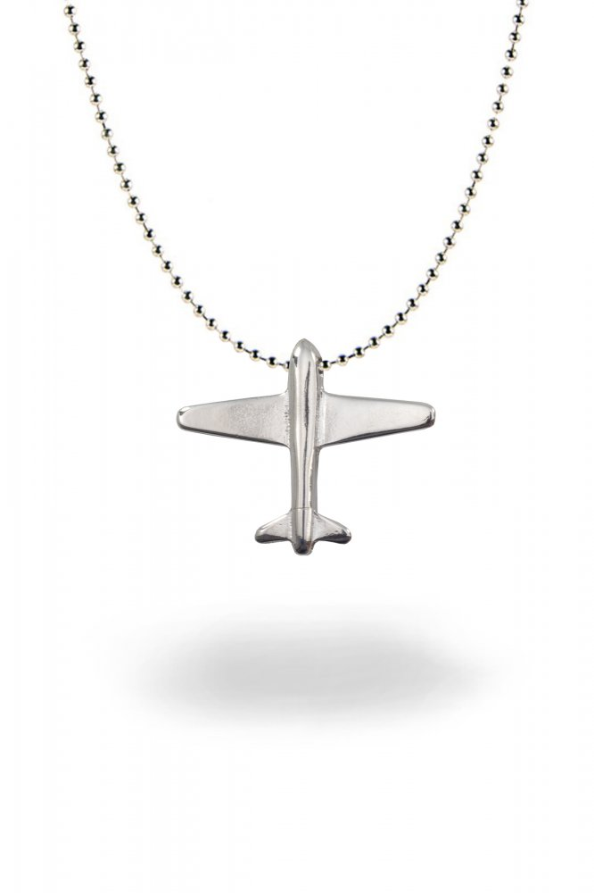 Angemiel Men Airplane Silver Color Chain Metal Necklace image