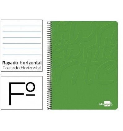 SPIRAL NOTEBOOK LIDERPAPEL FOLIO WRITE SOFTCOVER 80H 60GR HORIZONTAL MARGINED GREEN COLOR 10 Units