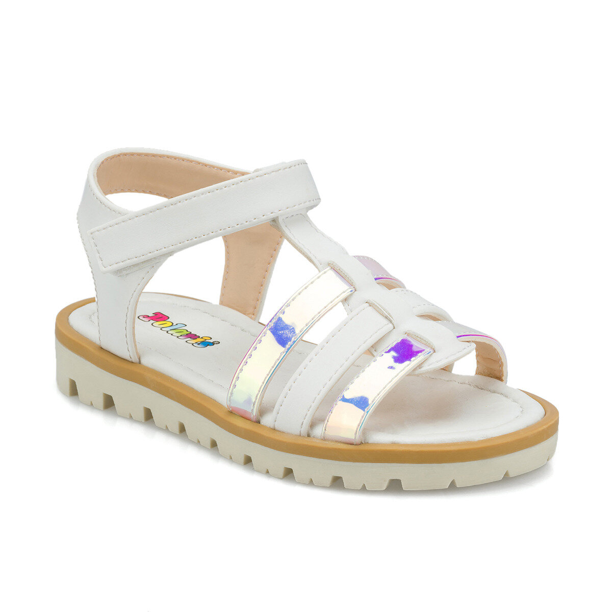 FLO 512342.P White Female Child Sandals Polaris