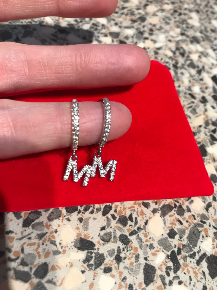 1 Pair Fashion Cubic zircon Initial A-z Letter Earrings DIY Alphabet Drop Small Hoop Earrings For Women alphabet Jewelry 2021 photo review