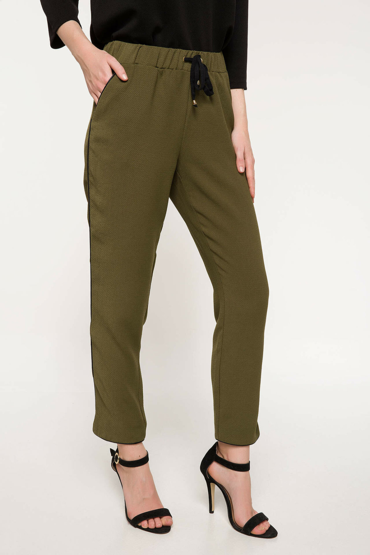 DeFacto Female Fashion Trousers Ladies Casual Drawstring Pants Comfort Straight Comfort Long Pants Army Green - J1717AZ18SM