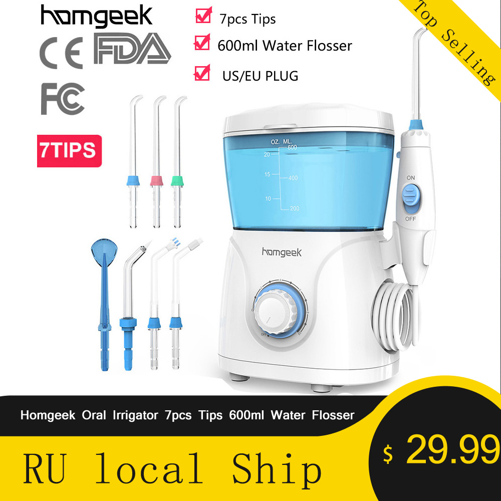 Homgeek Oral Irrigator 7pcs Tips 600ml Water Flosser Irrigator Dental Hygiene For Teeth Cleaning Water Pick Irrigators Flossing
