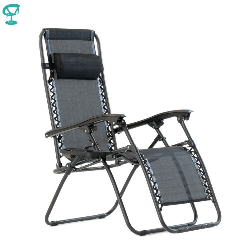 95640 Barneo PFC-16 Black Folding Reclining Garden Deck Chair Sturdy Tubular Steel Frame HardWearing Textoline Fabric Adjustable