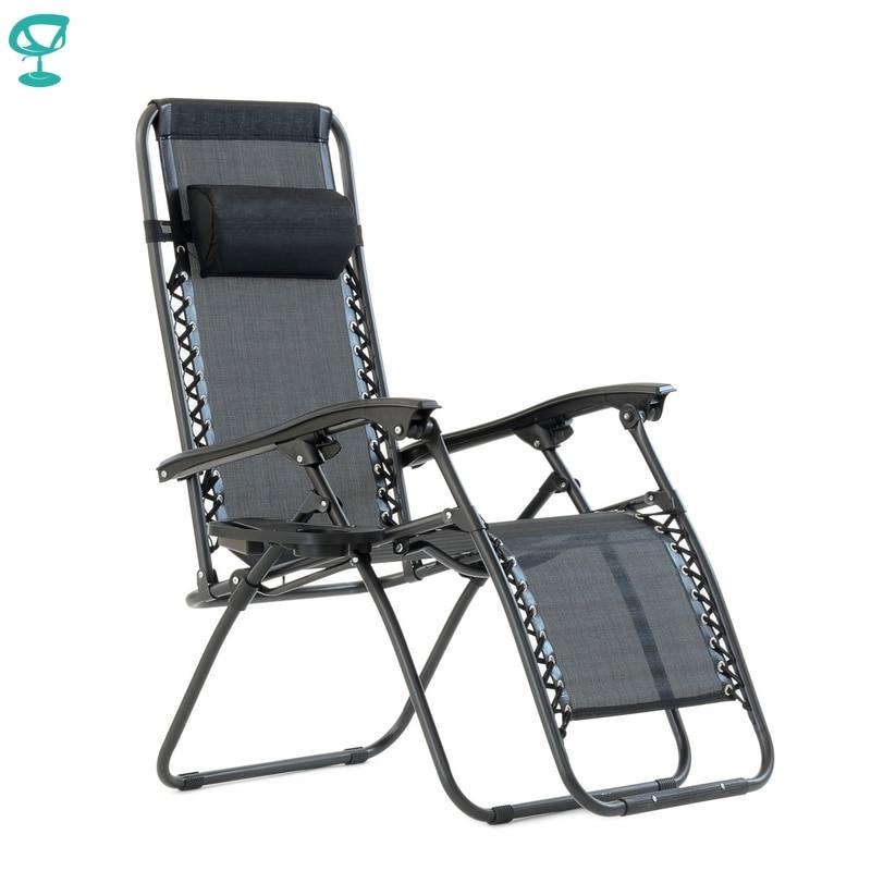 95640 Barneo PFC-16 Black Folding Reclining Garden Deck Chair Sturdy Tubular Steel Frame HardWearing Textoline Fabric Adjustable