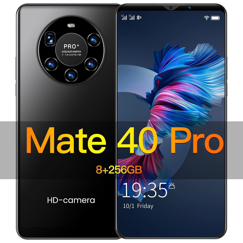 Hawei Mate40 Pro Смартфон Android мобильного телефона 8 ГБ 256 смарт-телефонов разблокированные 5G 5000 мА/ч, 6,2