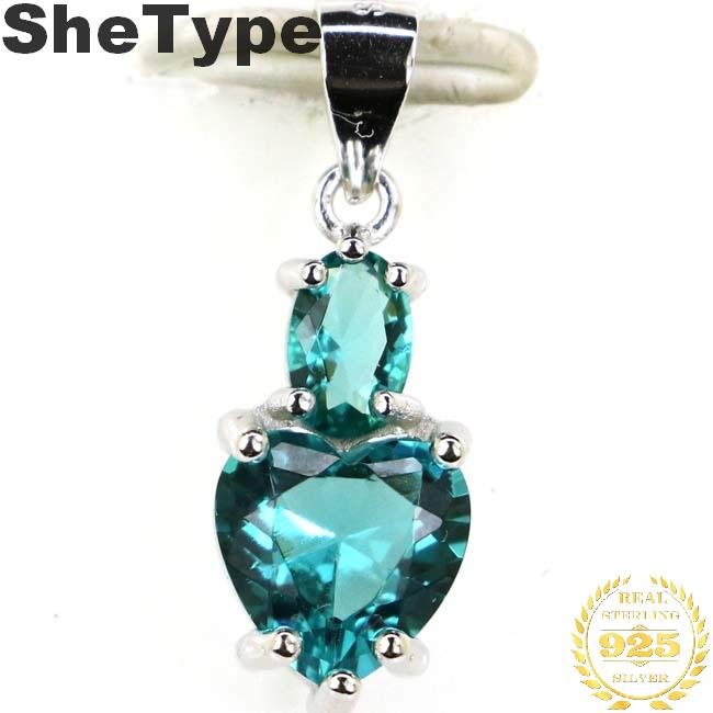 22x8mm Romantic Heart Shape 2.0g Created Rich Blue Aquamarine Gift For Girls 925 Sterling Silver Pendant
