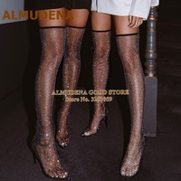ALMUDENA Net Crystal Over The Knee Boots Bling Bling Mesh See Through Thigh High Boots Glittering Stiletto Heel Long Boots Pumps