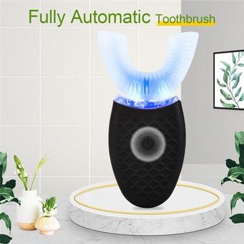 Cepillo de dientes eléctrico automático en forma de U, limpiador ultrasónico de dientes Nano ondas, cepillo de dientes de silicona impermeable para adultos con luz azul