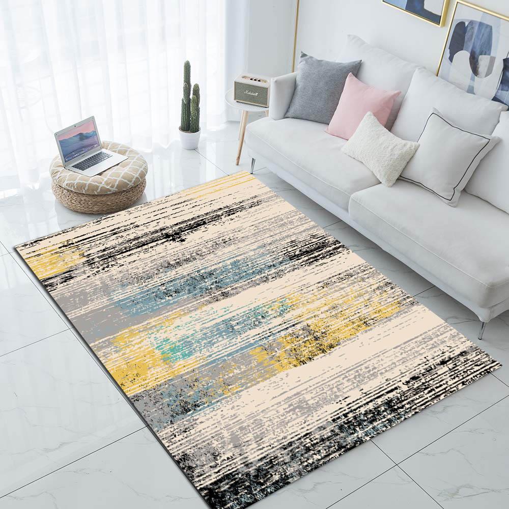 Else Gray Yellow Blue Aging Geometric Nordec 3d Print Non Slip Microfiber Living Room Decorative Modern Washable Area Rug Mat