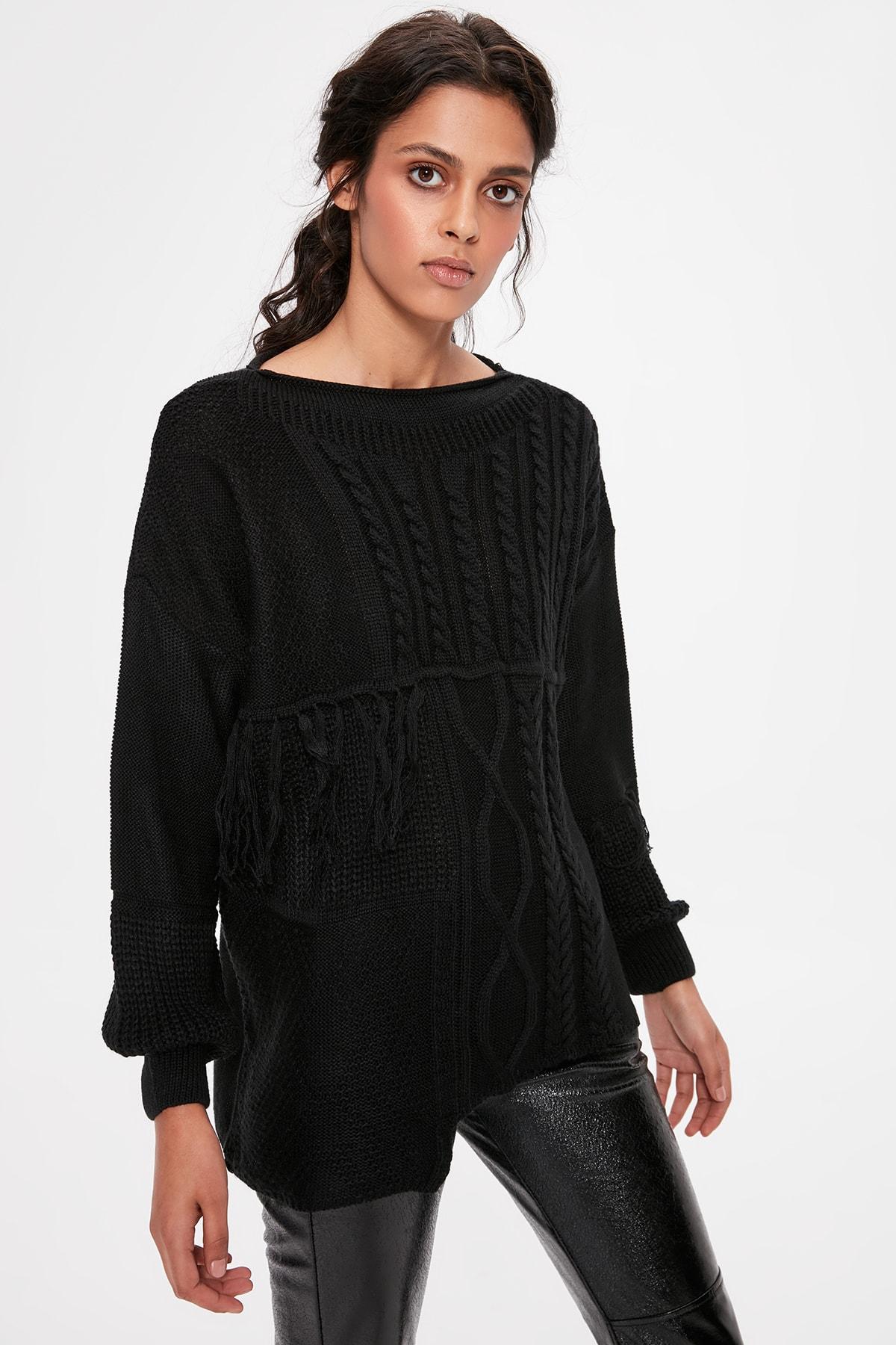 Trendyol Black Tassels Sweater Sweater TWOAW20KZ0060