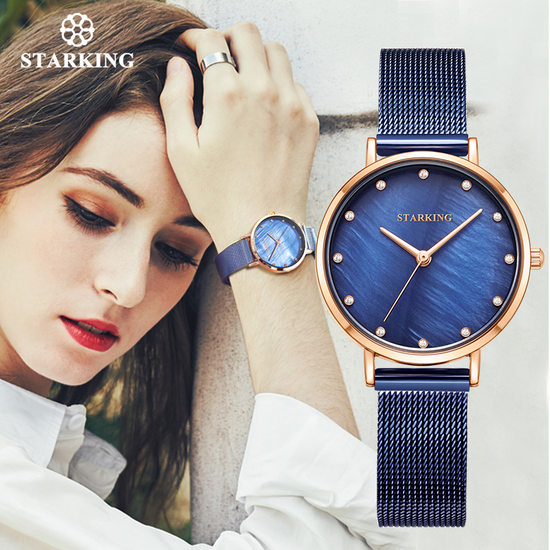 STARKING Fashion Women Quartz Watches 30mm Small Size Lady Dress Watch Waterproof Shell Window Mesh Belt Sapphire Crystal Watch