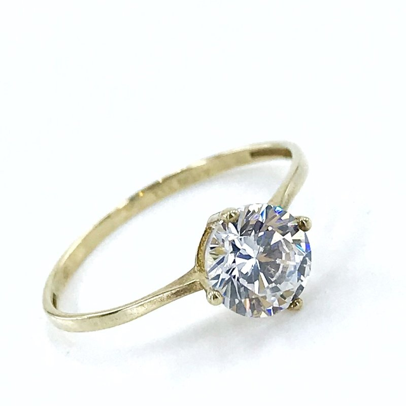 Thin Elegant Light 5 Mm Zircon 8 Sterling Gold Engagement Ring