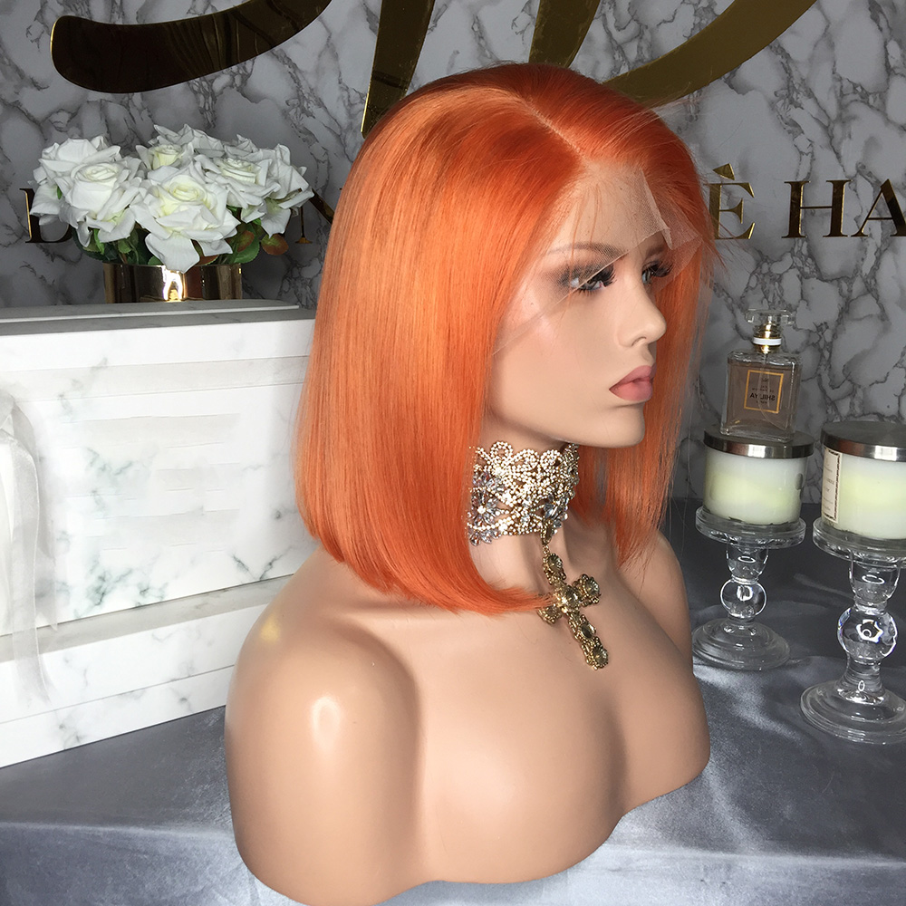 Uc26b76b79fce46afb7d30145f6410183r JRX Hair Orange Pre-Colored Lace Front Wig 100% Human Hair Bob Wig Colored Pre Plucked Brazilian 13*4 Lace Front Wigs