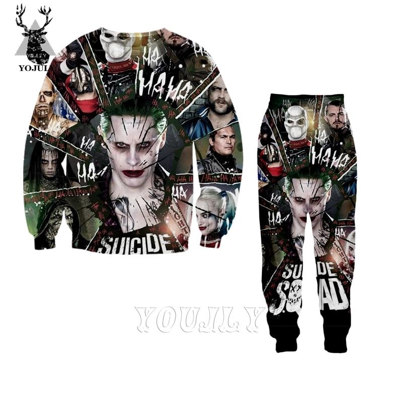 Harley Quinn clown Joker t shirt fashion off white men's sets 3D print hoodie/Sweatshirt/trousers Hip Hop O-neck streetwear S130