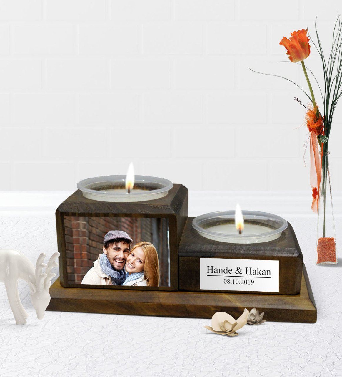 Personalized Photo Decorative 2 Layer Natural Wooden Candle Holder-Walnut