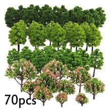 20/70 pces modelo de plástico trem artificial em miniatura árvore paisagem paisagem paisagem decoração construção acessórios brinquedos para crianças