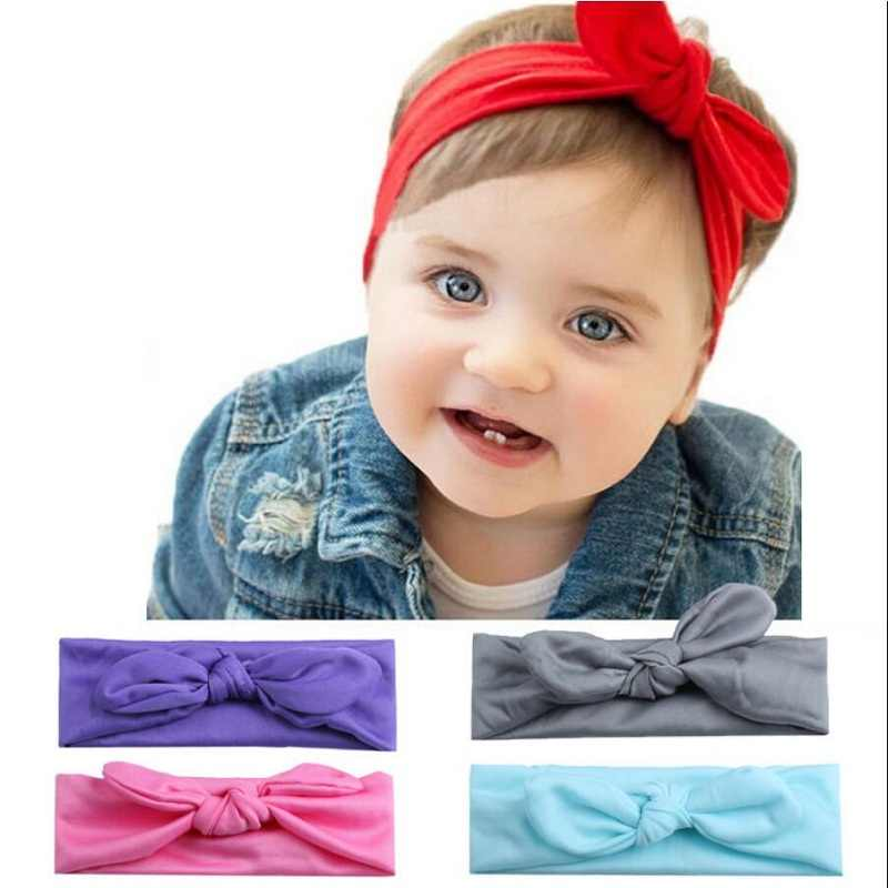 2019 Newborn Baby Girls Turban Solid Headband Wide Bows For Girls Hair Bands Elastic Bow Infant Baby Girl Hair Accessories #U10