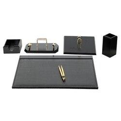Luxus Holz Flas Schreibtisch Set 6 Stück Schreibtisch Veranstalter Büro Zubehör Offise Zubehör Schreibtisch Pad Stift Fall Dokument Tablett