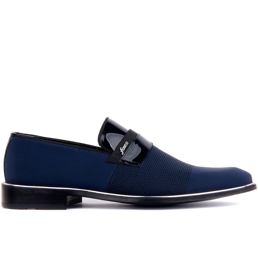 Fosco-Navy Blue Satin Men 'S Classic Shoes