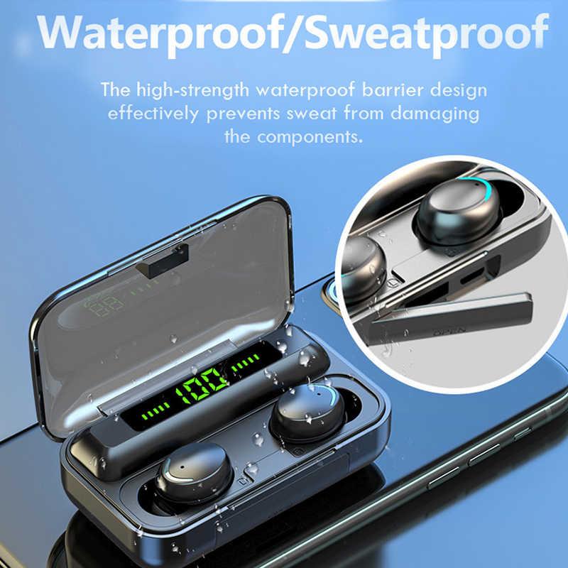 Tws Bluetooth 5.0 Earphone 2200M Ah Pengisian Kotak Wireless Headphone 9D Stereo Olahraga Tahan Air Earbud Headset dengan Mikrofon