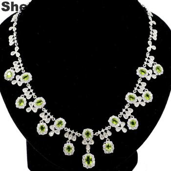 77x38mm Luxury 33.3g Lace Green Peridot Natural Cubic Zirconia Wedding Ladies Silver Necklace 18.5 inch
