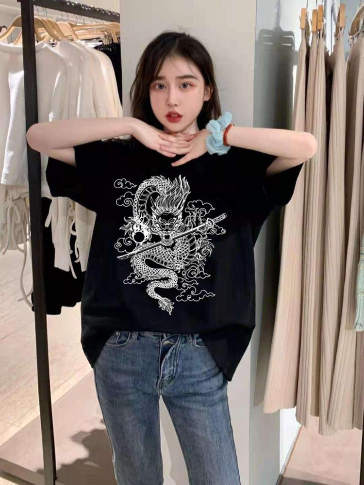Women's t-shirts cotton korean Top aesthetic oversized kpop harajuku Gothic Short sleeve casual black print  clothes photo review