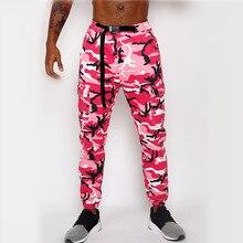 Pink Hip Hop Pants Men Camo Cargo Pants Streetwear Mens Jogger Camouflage  Trousers pantalones cargo para hombres vetements цена 2017