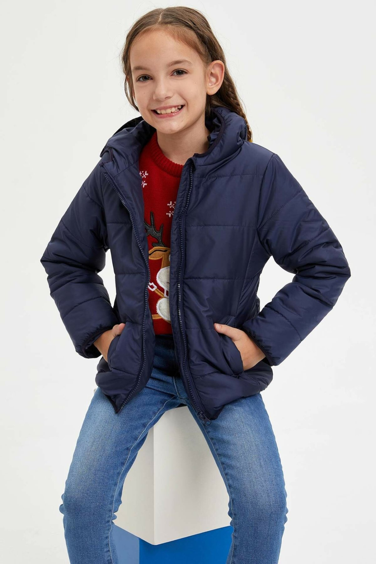 DeFacto Girl Autumn Thick Cotton Coats Kids Hooded Blue Black Top Coats Girls Winter Warm Mont Overcoats-M8553A619AU