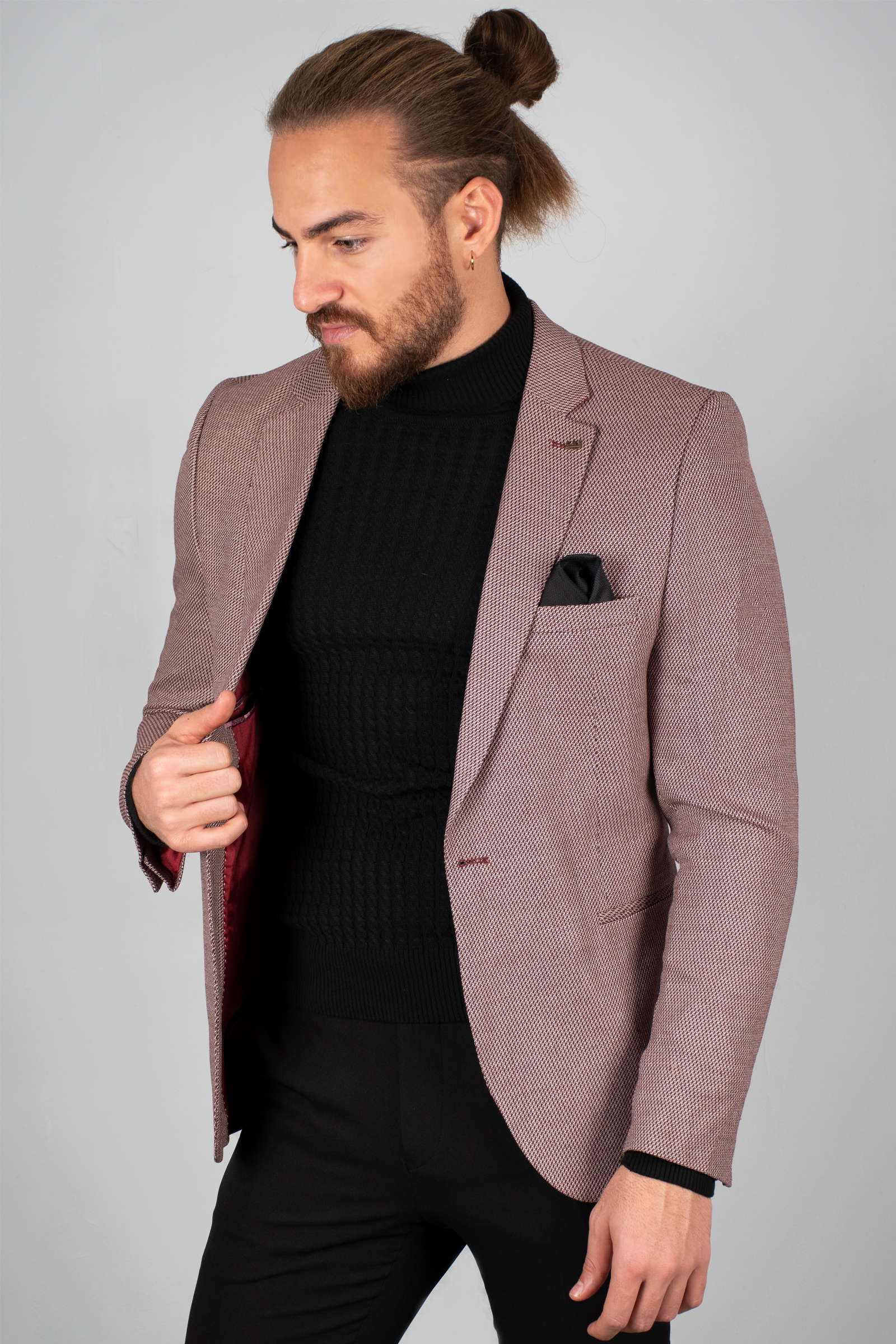 DeepSEA Burgundy Men 'S Luxury Blazer Coat Suit Jacket Tight-Fitting Mould Patterned Fabric Four Seasons Daily Groom Wedding Business 2002123 1