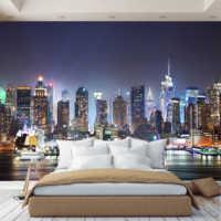 3D Photo Wallpaper wall paper Night City, wallpaper custom, hall, kitchen, bedroom, children's, photo wallpaper enhance space