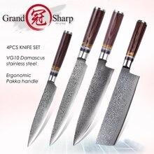 Knife-Set Slicing Nakiri Stainless-Steel Japanese Damascus VG10 Grandsharp Kitchen-Knives