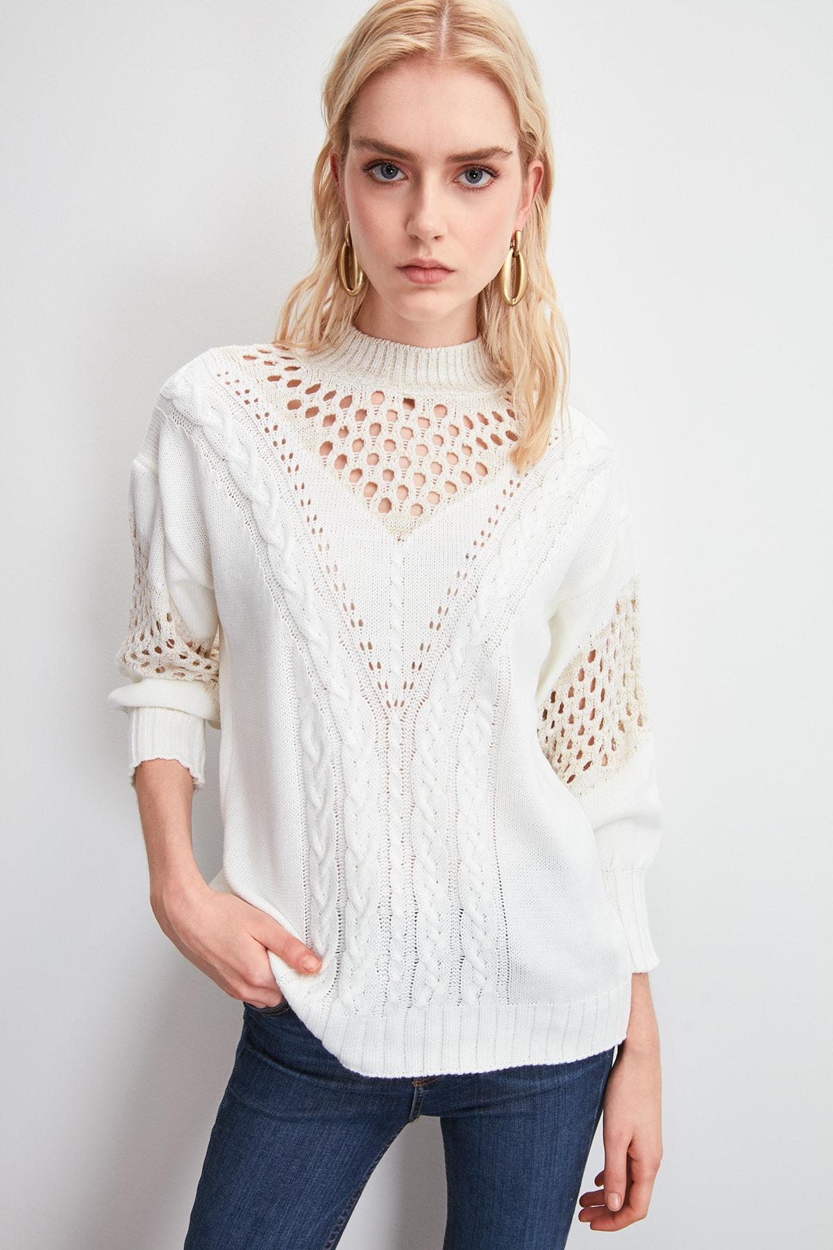 Trendyol Mesh Detailed Silvery Sweater Sweater TWOAW20KZ1063