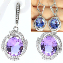 35x16mm Luxury Color Changing Alexandrite & Topaz White CZ Gift For Girls Silver Earrings