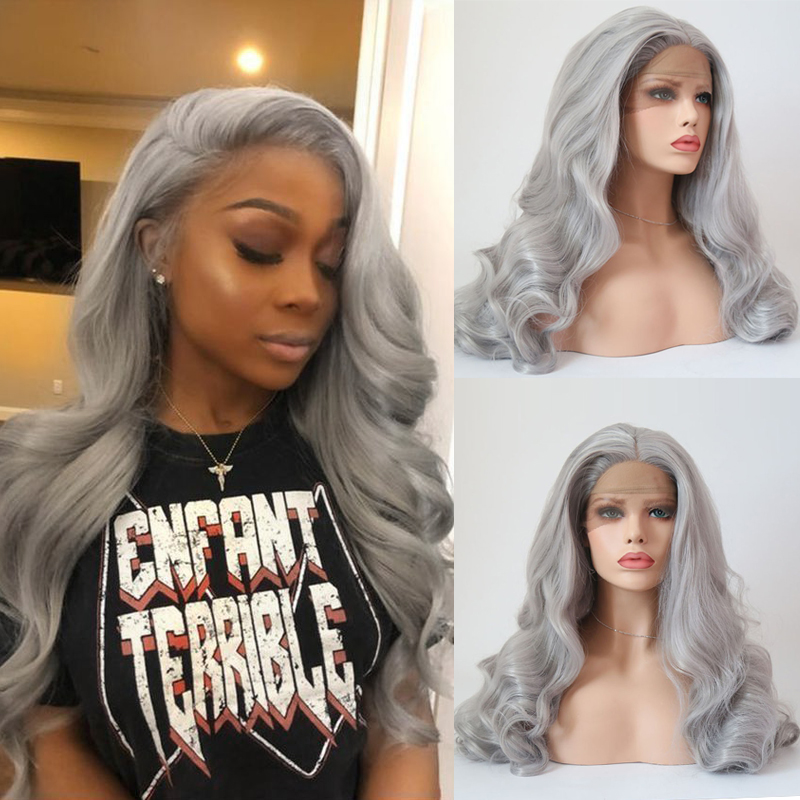 Charisma Long Wavy Grey Hair Color Heat Resistant Fiber Replacement Wigs With Natural Hairline For Black Women