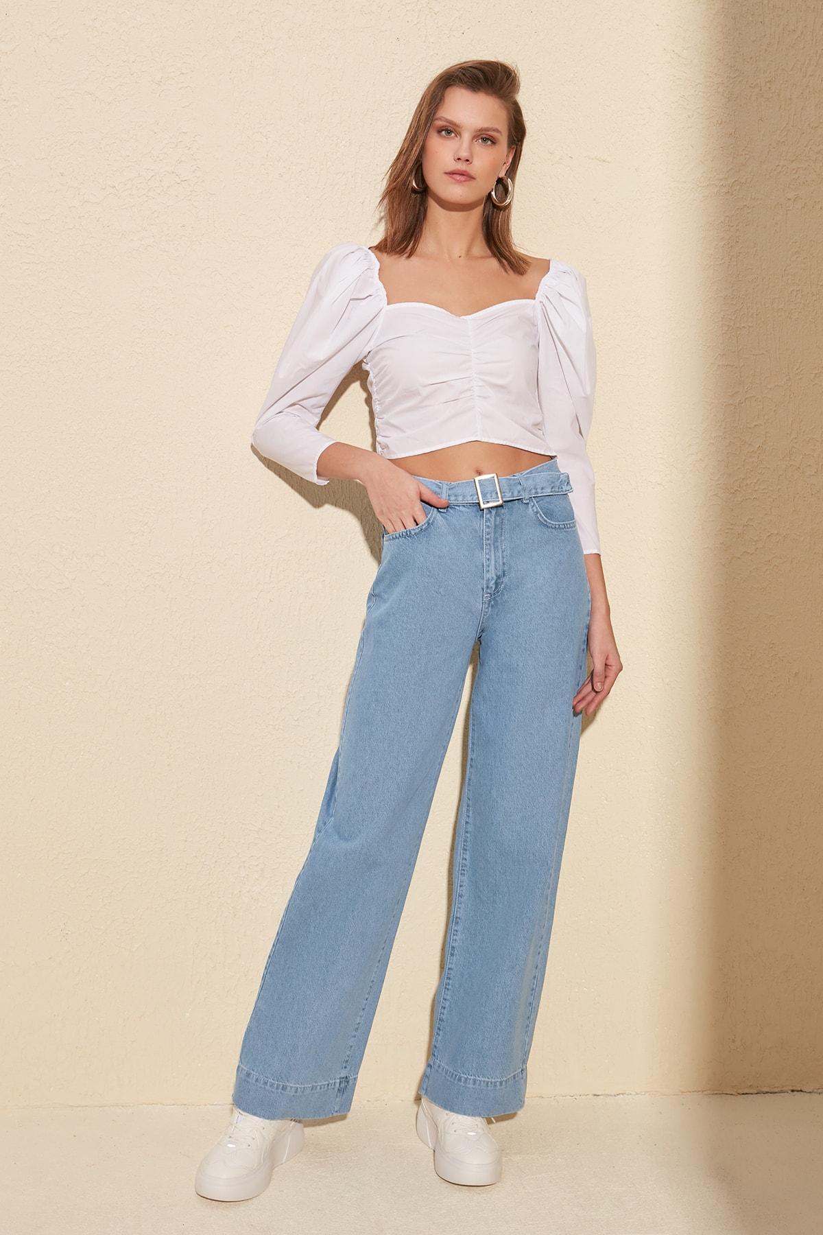 Trendyol Arch High Bel Wide Leg Jeans TWOSS20JE0068