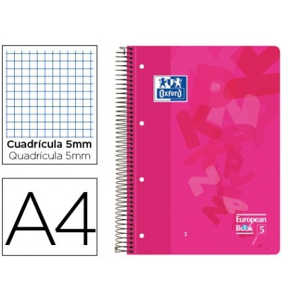 NOTEPAD SPIRAL OXFORD PLASTIC CAP OPTIK PAPER MICROPERFORATED DIN A4 120 H 50% SHEETS SHIPPING PLAID 5 MM