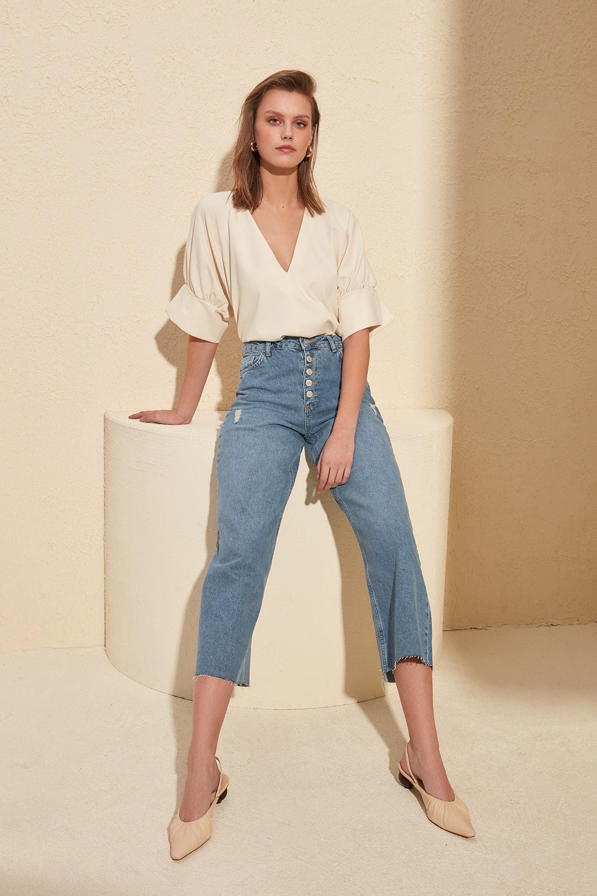 Trendyol Front Button High Waist Culotte Jeans TWOSS20JE0140