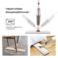 Швабра с ручкой на 360 для дома, для мытья пол. Распылительная швабра для пола с многоразовыми подушечками из микрофибры   Промокод: CNNN200