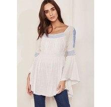 Beyaz mavi nakış isli bluz,pamuklu