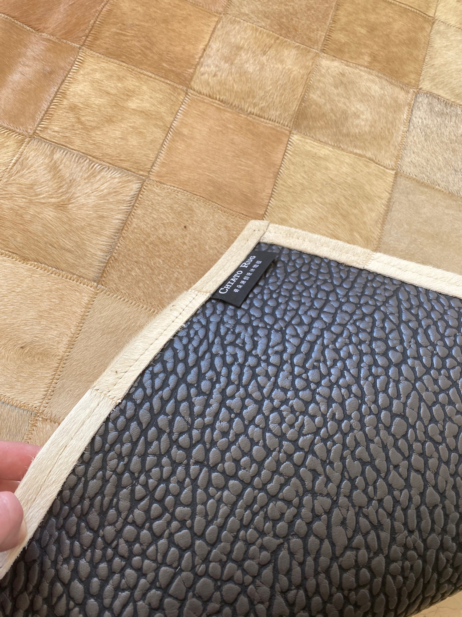 Luxury Hand Stitching Cowhide Rectangle Carpet