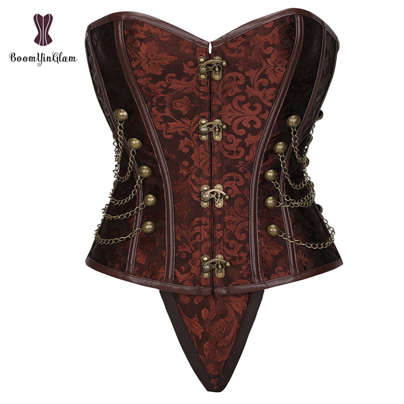 Front Metal Claps Faux Leather Lingerie Gorset Brocade Women Korsett Brown Steampunk   Bustier     Corset   With Chains