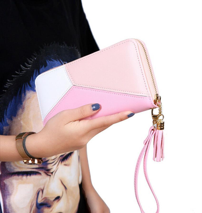 Women Zipper PU Leather Wallet Large Capacity Fashion Casual Simple Patchwork Waterproof Lady Wrist Band Handbag Card Phone Bag