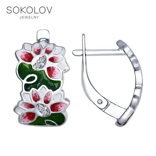 SOKOLOV Drop Earrings With Stones From Silver And Enamel With Cubic Zirconia Fashion Jewelry 925 Women's Male, Long Earrings