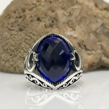 Sapphire Stone Special Design the Moon the stars Silver Men 'S Ring