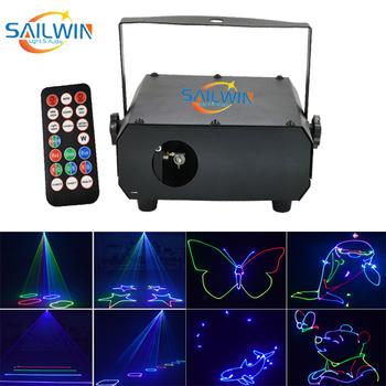 Nowy 150mW rgb pełny kolor laser animacyjny scena dyskoteki światło laserowe ing na imprezę Xmas Party światła dj-skie tanie i dobre opinie SAILWIN LIGHT AUDIO Etap światła Dotykowy włącznik wyłącznik Wolnostojące iron ROHS Profesjonalne 150MW LASER LIGHT