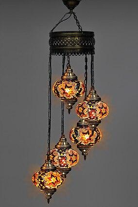 turco handmade mosaico multicolorido lustre novo e